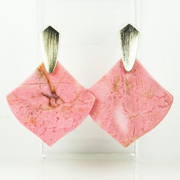 Triangle Rhodonite Earrings